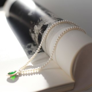 Miss Queeny original | Mood for Love retro emerald natural pearl necklace / short chain