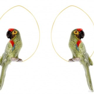 Green Parrot Creoles Earrings
