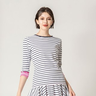 Hit color sleeve striped round neck sleeves