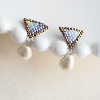 Blue earrings  of a triangle beads  and the cotton pearl