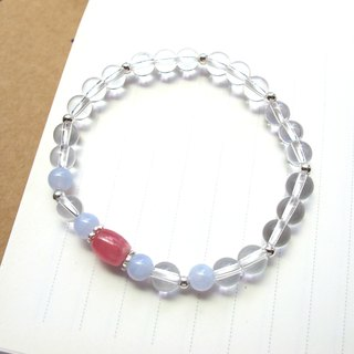 [Silent] Blue Agate x Red Stone x White Crystal x 925 Silver - Handmade Natural Stone Series