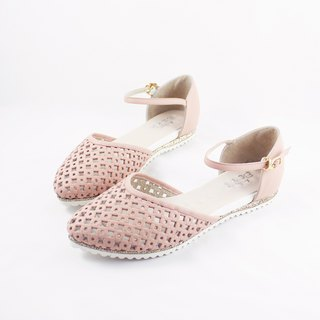 Parent-child shoes Mommy models good breathable hollow toe leather sandals - 妃 sugar powder