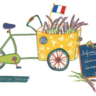 French bike with lavender (Framed Painting)