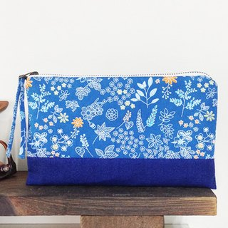 [Tannin blue] cosmetic bag YKK zipper / pencil bag storage bag clutch / lovely natural floral