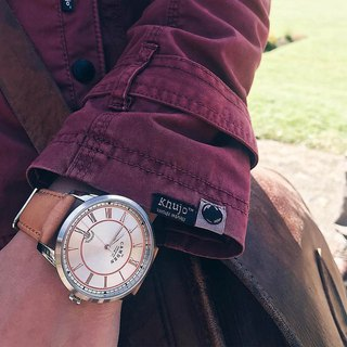 Camden Watch classic gentleman British Roman numeral kinetic energy table 43mm stainless steel silver brown leather belt