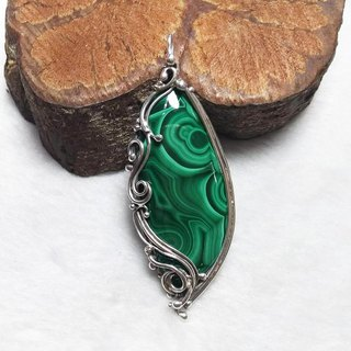 <Pure Silver Series> Malachite Design Pendant