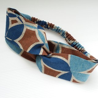 Turkish blue bi-color copper pattern handmade hair band