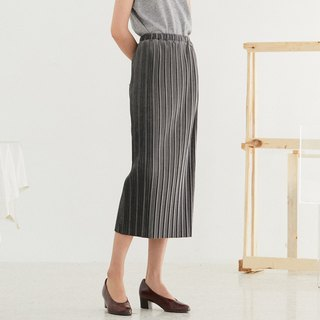Dark gray loves you poetry beautiful velvet pleated skirt with elastic pleated midi skirt