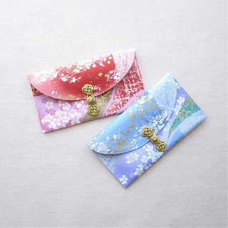 Cloth red envelopes - falling cherry colorful (red x1 + blue x1)