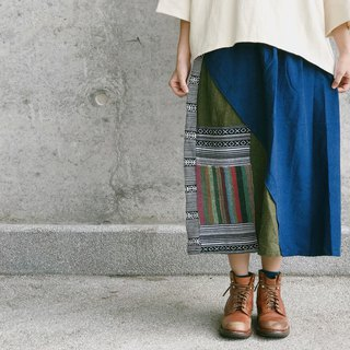 Place a picnic mat cotton patchwork skirt on the grass next to the river | Dark blue