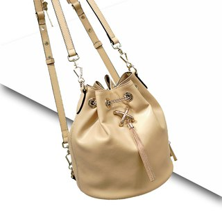 MBS[Series of ReberHeart] Sugino Making Leather Fringe Bucket Bag Ms. Diagonal Bag Multifunctional Bucket Backpack Bag Chain Bag