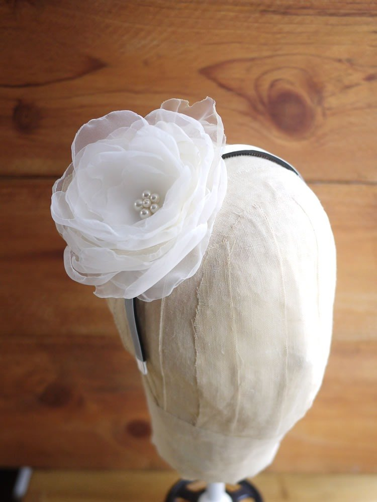 [Black mage] white yarn flower hair hoop