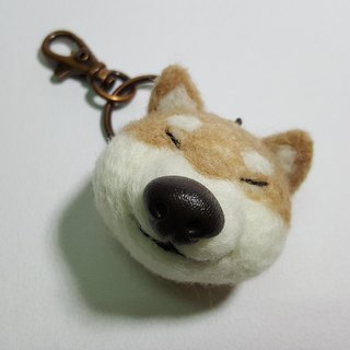 Original wool felt natural big nose smile small firewood key ring charm / pin