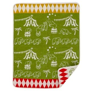 Warm blanket / baby blanket / month indemnity ceremony ► Sweden Klippan organic cotton blanket - Elephants Circus (fresh green)