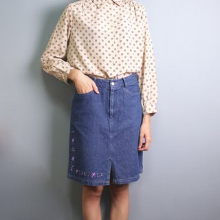 FOAK vintage 80's embroidered lace denim skirt