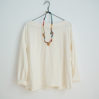 Organic cotton boat neck top with dropped shoulder sleeves