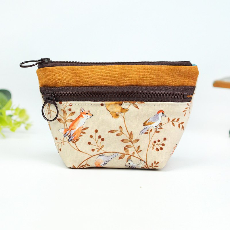 Handmade fabric bag pocket purse double zipper small storage package fox bird rabbit bear squirrel [romantic forest] [BG-07]