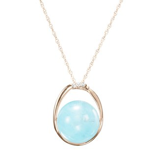 March Birthstone Necklace, 14k Aquamarine Stone Pendant, Blue Crystal Necklace