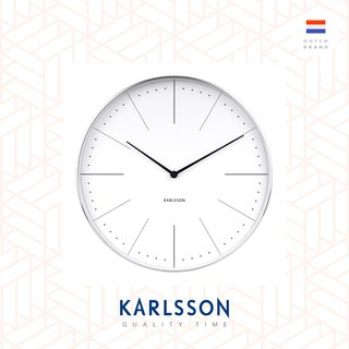 Karlsson 37.5cm wall clock Normann station white, brused case