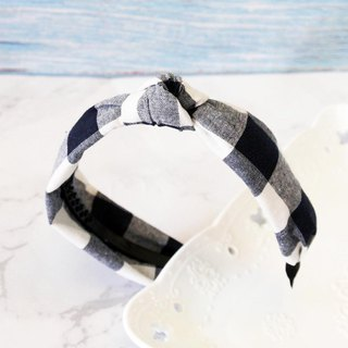 Attractions blue and white check denim wind knotted imitation hair band headband