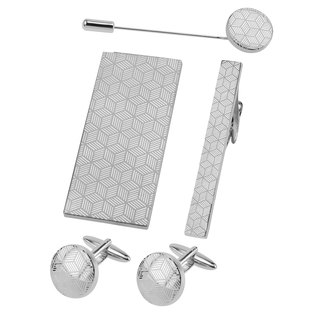 Laser Engraved Quadrilateral Cufflinks Tie Clip Money Clip Lapel Pin Sets