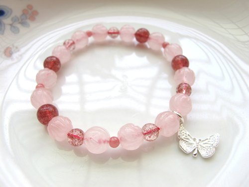 [Hand Rose] Pink Crystal (Flower Shape) x Strawberry Crystal x Red Stone x 925 Silver