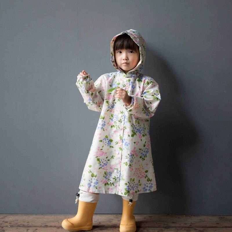 Hydrangea Khaki kid's raincoat