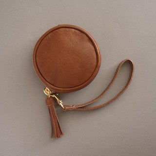 """RENÉE"" tassel three-dimensional round purse / headset storage / storage package plant tanning carved leather / plant tannage / vegetable tanning leather brown"