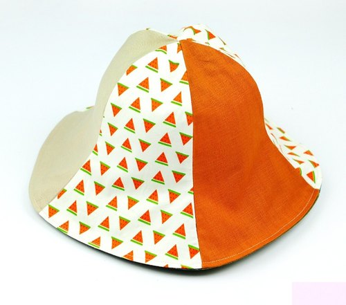 Calf Village Calf Village Handmade Double-sided Hat Customized Sunshade Cute Watermelon Wild Earth Color {Warm Guagua 【H-373】