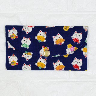 Play cloth hand made. Cute Lucky Cat (Dark Blue) Red Bag Passbook Passport Storage Bag