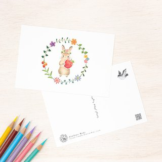 "4 pieces set. Like a picture book. Postcard ""Ring of flower rabbit"" Usaga ""PC-265"