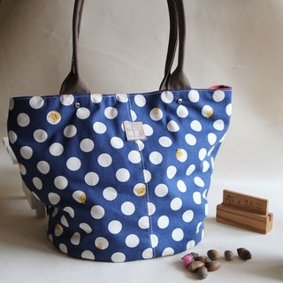 Canvas Shoulder bag,  large capacity bag,  Canvas tote bag, blue spot