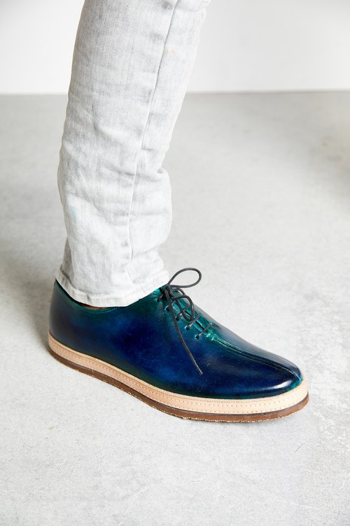 H THREE / Oxford shoes / men's shoes / flat bottom / Loch Ness / blue green gradient