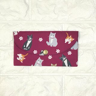 Play cloth hand made. Naughty cat (pink) red bag passbook passport storage bag