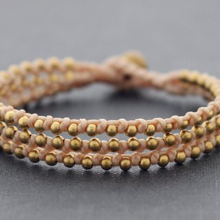 Nude Cotton Waxed Cord Woven Bracelets Brass Stud Beaded Cuff