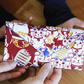 Bu Meng lucky cat red envelope bag - red cloth bag wedding cloth red envelope bag red envelope bag storage bag sanitary napkin storage bag pouch pocket