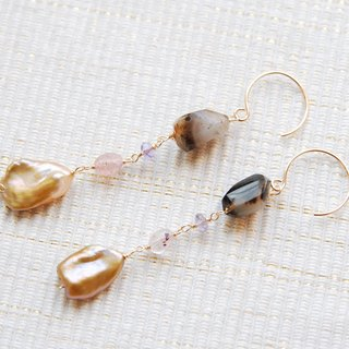 Dendrite quartz and poppy pearl earrings (14kgf)