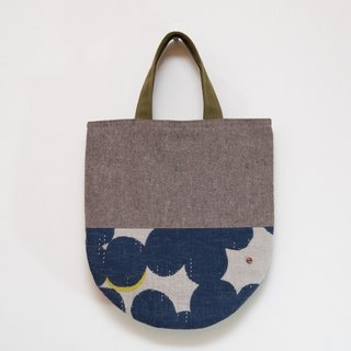 Japan wafting smell ㄦ - handmade cotton bag - Brown x Blue EH56