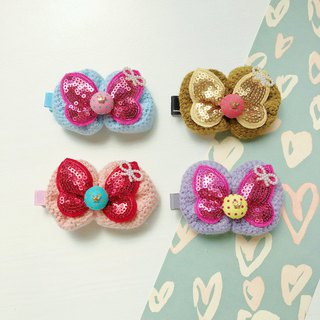 Kids Children's Hairpin Knitted Wool Sequined Bowknot Crown