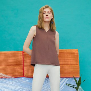 Reversible V Neck Paneled Top (Copper)