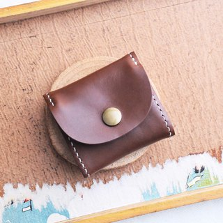 [Classic box purse - dark brown | RUSSEL] good sewing leather bag free hand-pressed bag purse paper bag simple and practical Italian leather vegetable tanned leather DIY headphones
