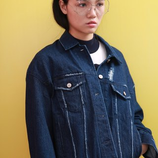 Wood drain Day / komorebi do the old retro denim jacket worn BF wind loose version of the deep blue