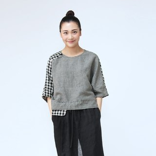 BUFU  linen Plaid shirt with  hand made Chinese-style botton  SH160509