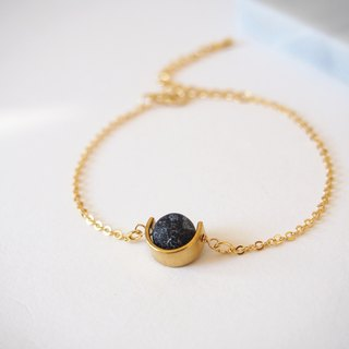 Weathering agate • alloy brass small U care • gold-plated bracelet