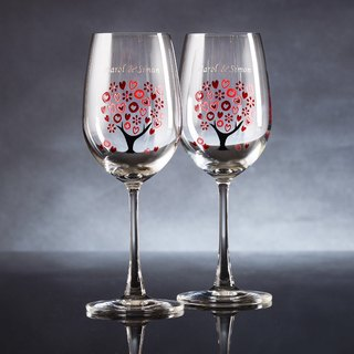 My Crystal red Wine Glasses - Love Tree ( including engraved names & date )