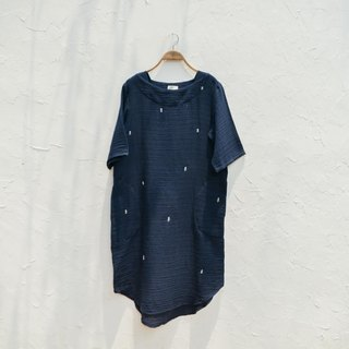 another Kiki dress | Pine Tree Hand Embroidery | Indigo Natural Dyed