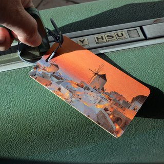 Baggage tag custom made of wood