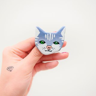 Pet Gamble Cat Series / English Short Neon Handle / Brooch