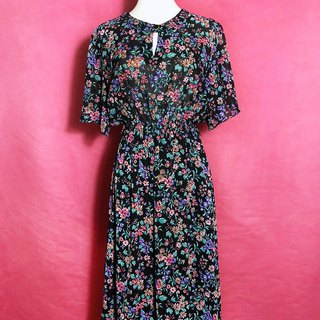 Flower chiffon short-sleeved vintage dress / brought back to VINTAGE abroad