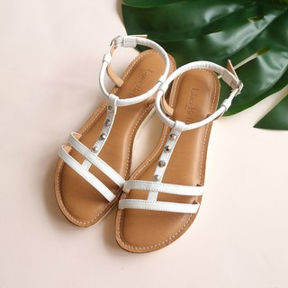 [City context] double thin belt flat sandals - white